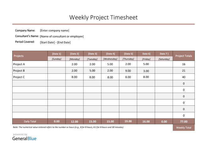 Project Timesheet in PDF (Colorful)