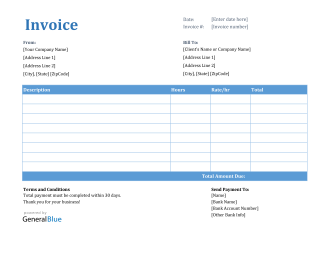 Invoice Template for U.S. Freelancers in Excel (Printable)