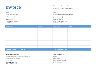 Invoice Template for U.S. Freelancers in Word (Printable)