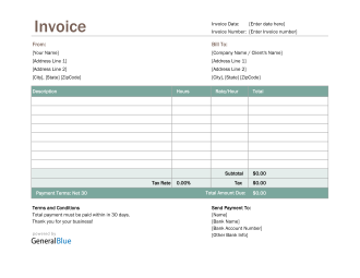 Excel Invoice Template for U.S. Freelancers With Tax calculation (Green)