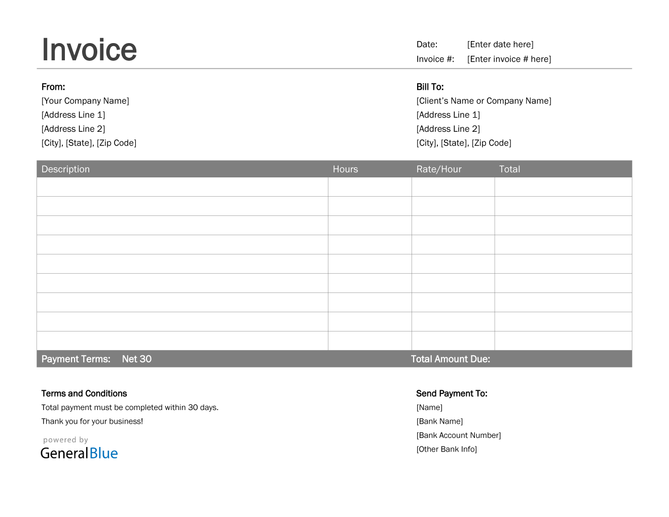 Invoice Template for U.S. Freelancers in Word (Basic)
