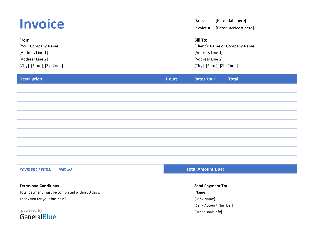 Invoice Template for U.S. Freelancers in Word (Highlighted)