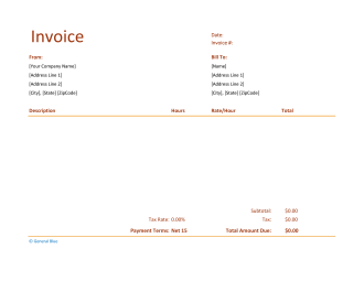 Excel Invoice Template for U.S. Freelancers With Tax calculation (Basic)