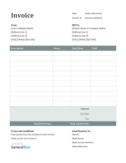 Word Invoice Template for U.S. Freelancers With Tax (Ion)