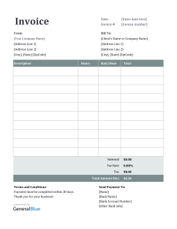 Excel Invoice Template for U.S. Freelancers With Tax calculation (Ion)