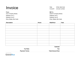 Word Invoice Template for U.S. Freelancers With Tax (Printable)