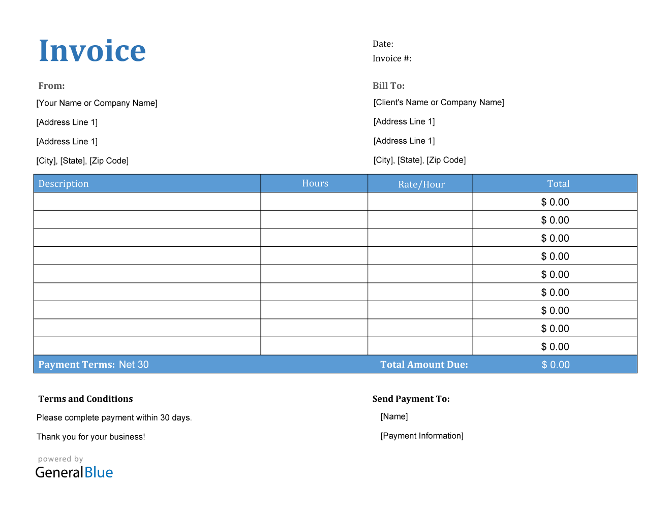Invoice Template For U S Freelancers In Pdf Printable