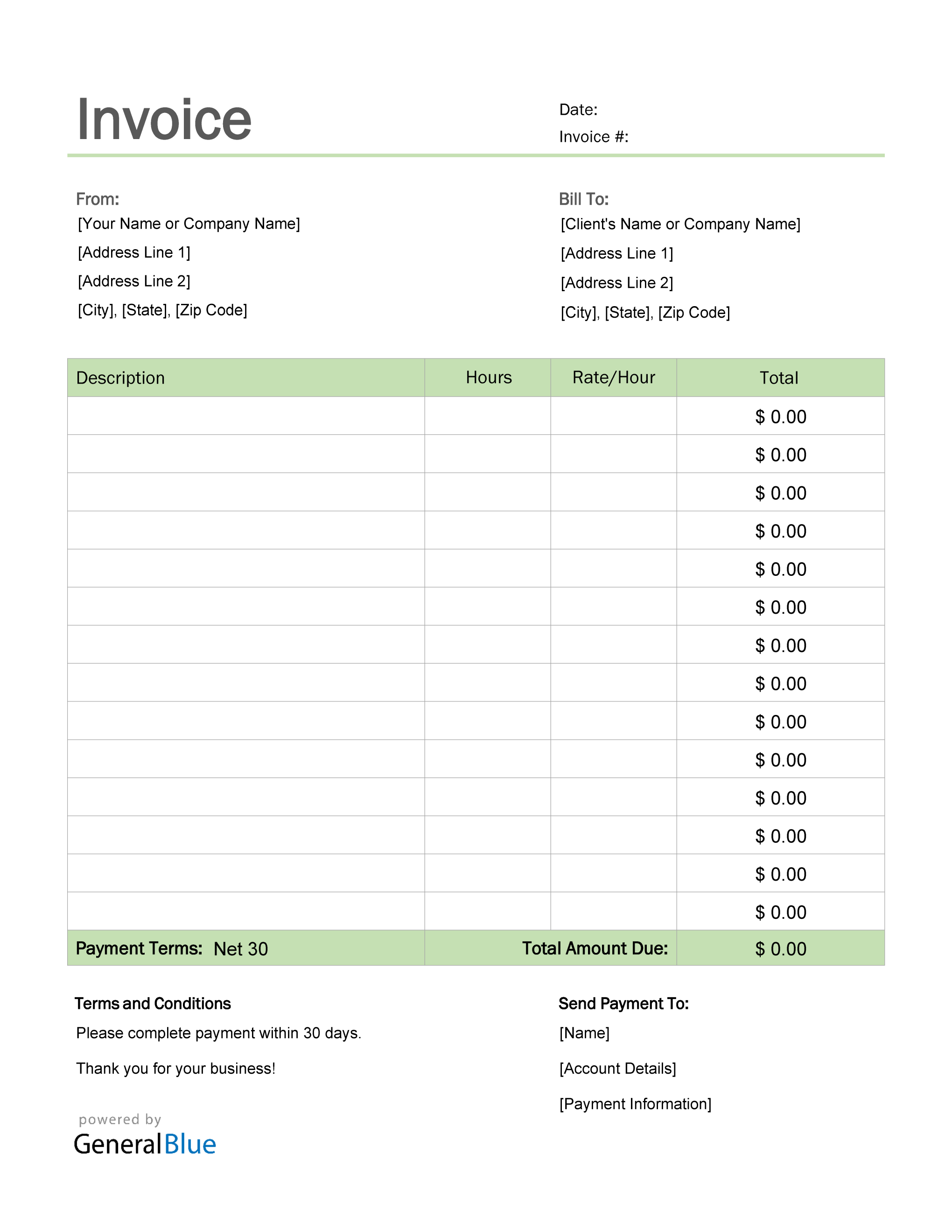 Invoice Template For U S Freelancers In Pdf Simple