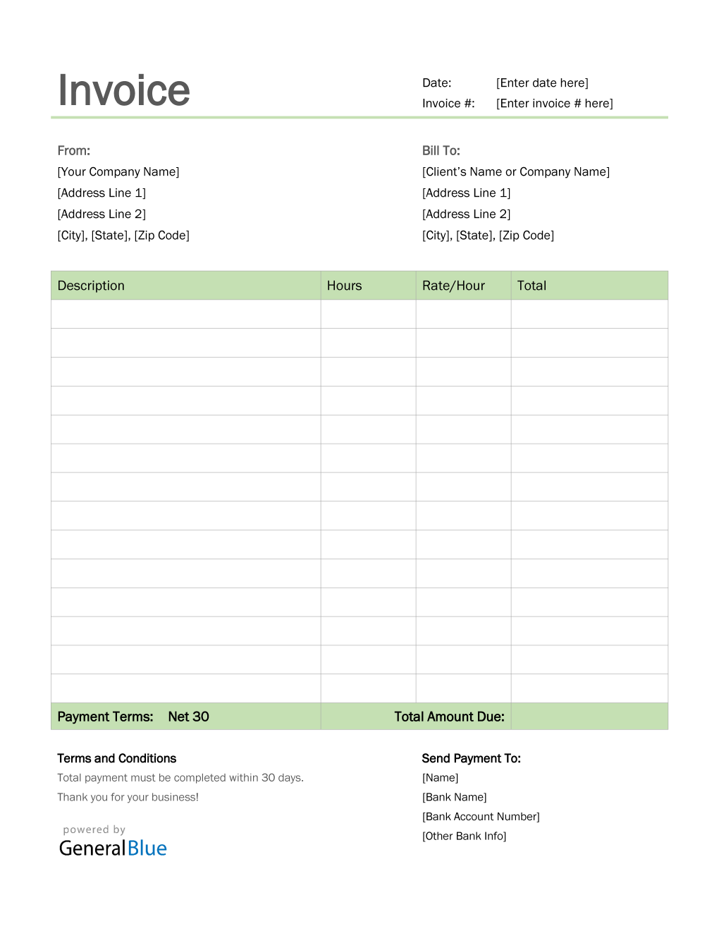 Invoice Template For U S Freelancers In Word Simple