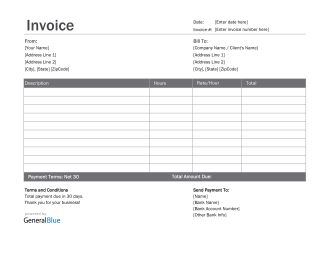 Invoice Template for U.S. Freelancers in Excel (Basic)
