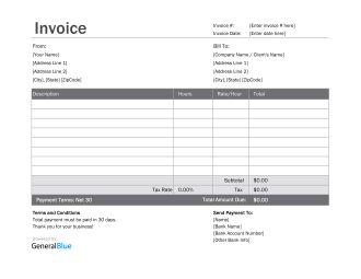 Excel Invoice Template for U.S. Freelancers With Tax calculation (Simple)