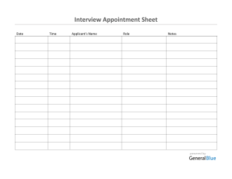 Interview Appointment Sheet Template in Word (Basic)