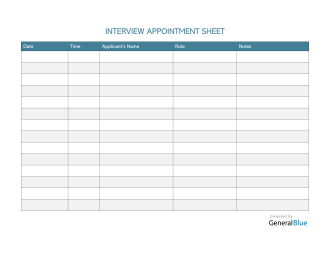 Interview Appointment Sheet Template in Word (Striped)