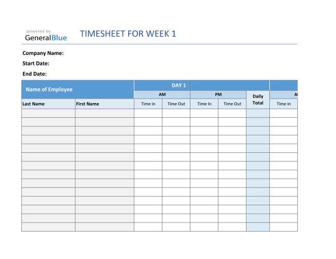 Monthly Timesheet Calculator For Multiple Employees in Excel