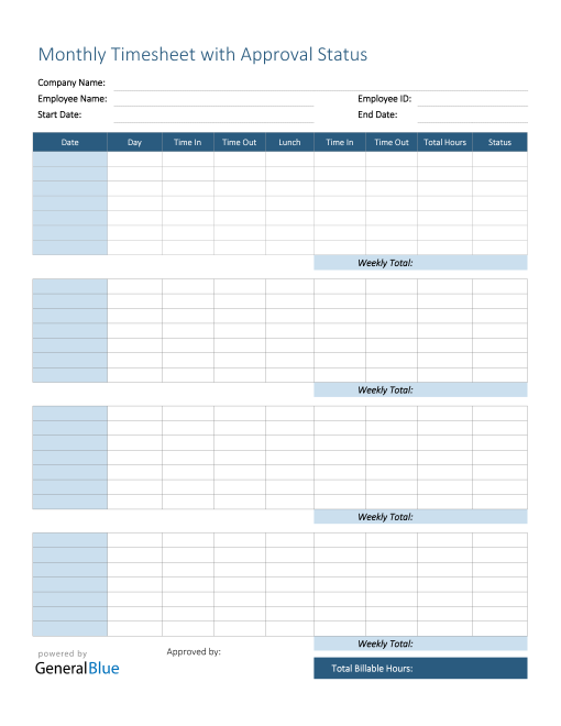 Monthly Timesheet With Approval Status in PDF