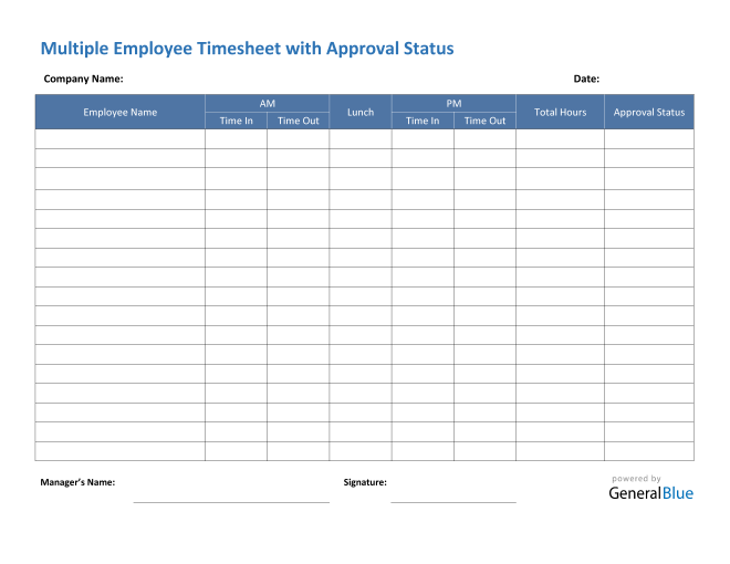 Multiple Employee Timesheet With Approval Status in PDF