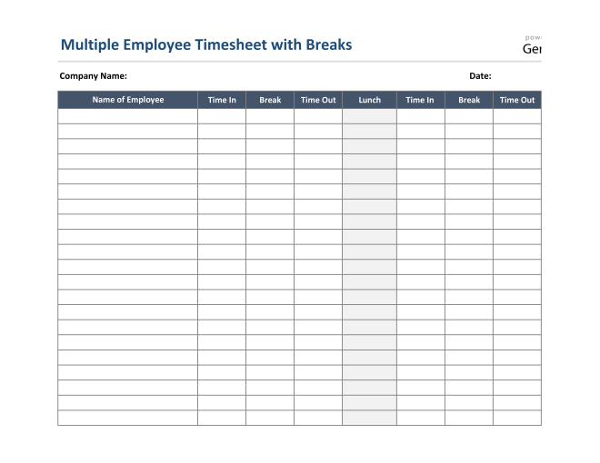 Multiple Employee Timesheet With Breaks in Excel