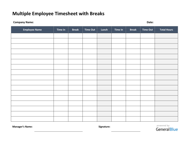 Multiple Employee Timesheet With Breaks in PDF