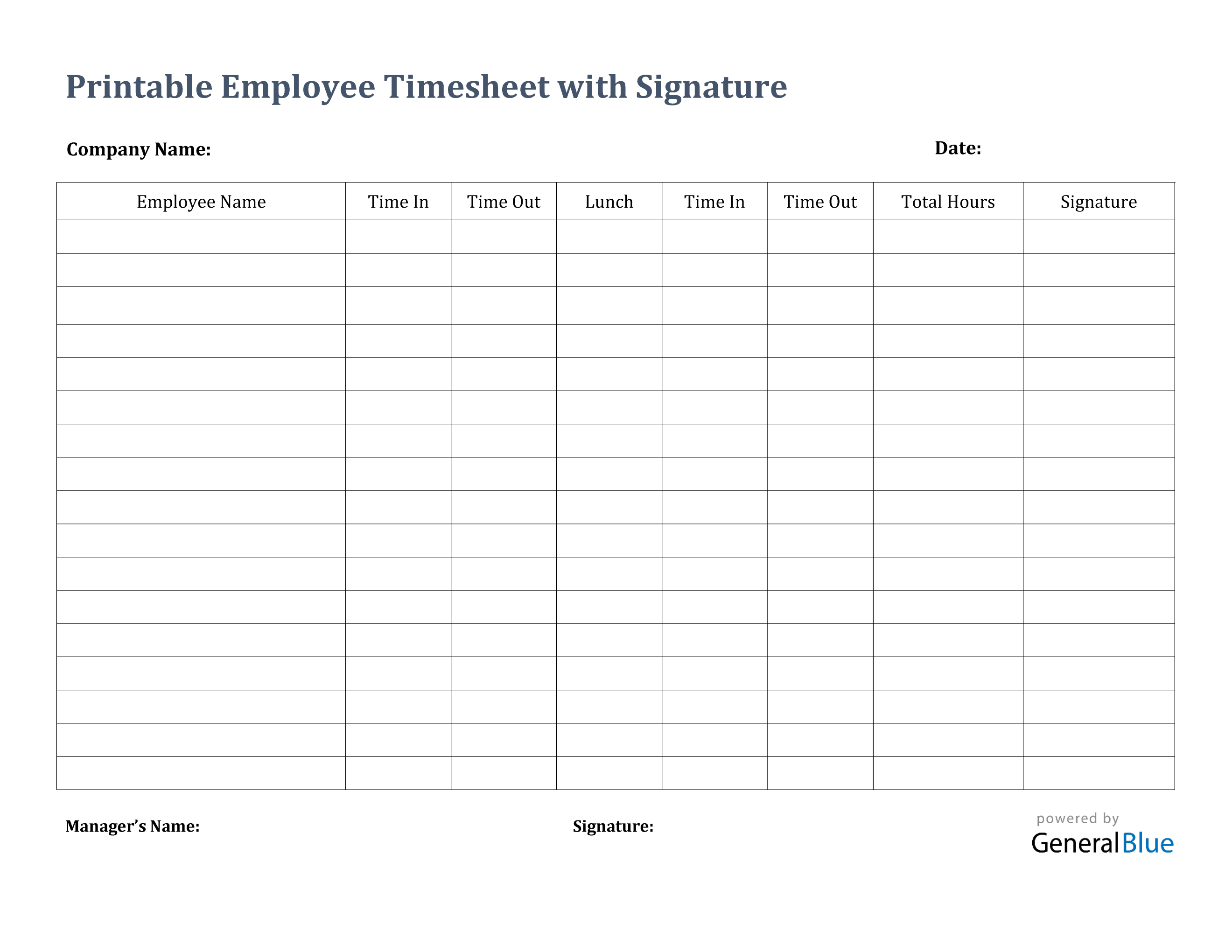 Printable Employee Timesheet With Signature In Pdf