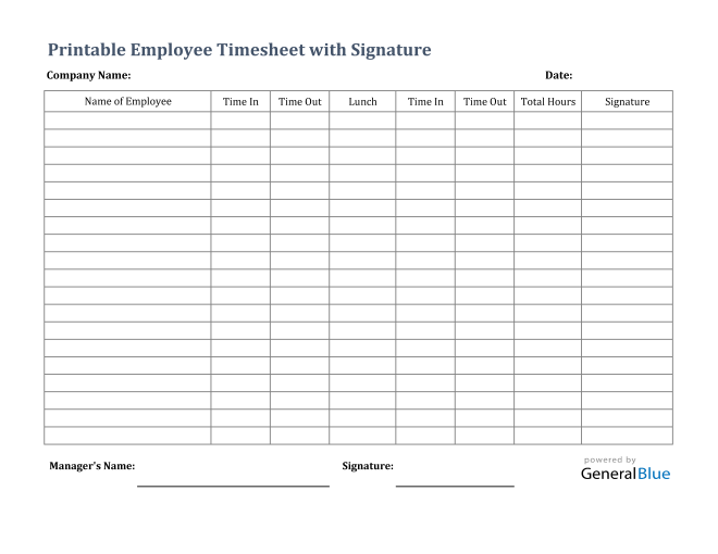 Printable Employee Timesheet With Signature in Excel