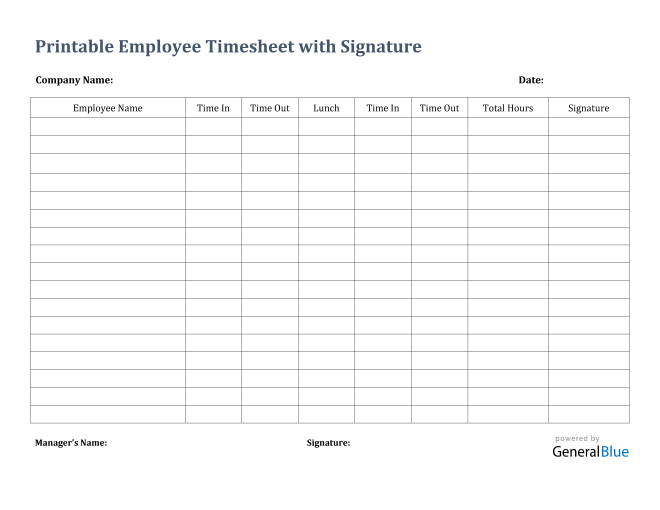 Printable Employee Timesheet With Signature in Word