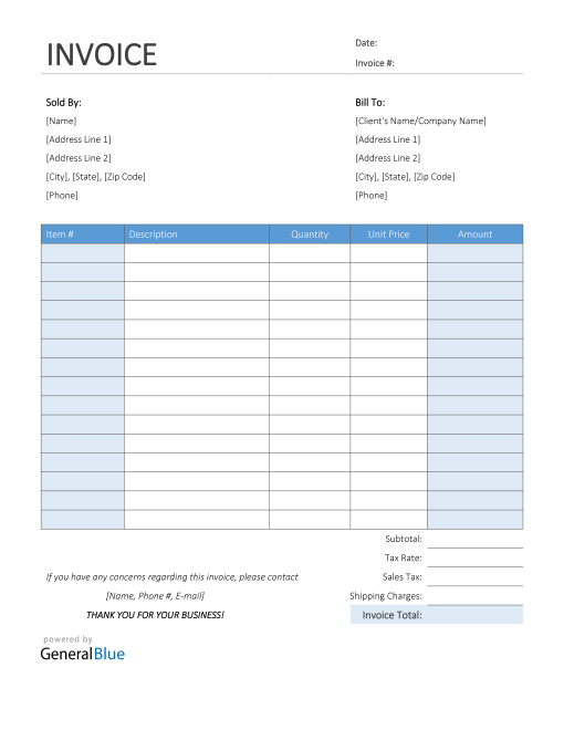 Printable Sales Invoice in Word (Colorful)