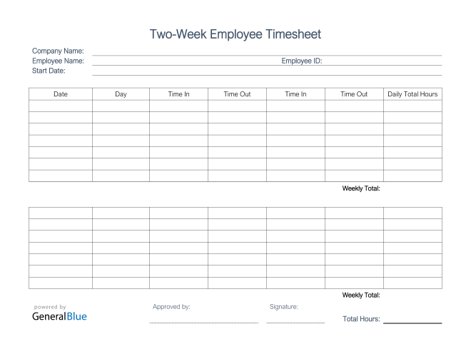 Printable Two-Week Employee Timesheet in PDF