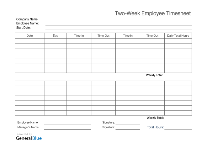 Printable Two-Week Employee Timesheet in Excel