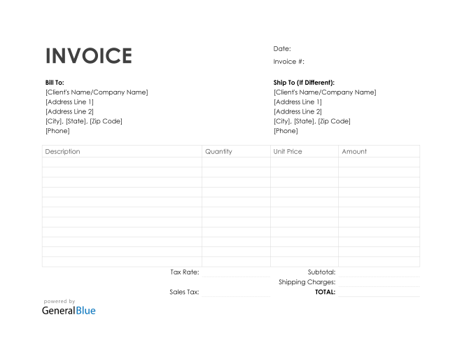 Purchase Invoice in Word (Simple)