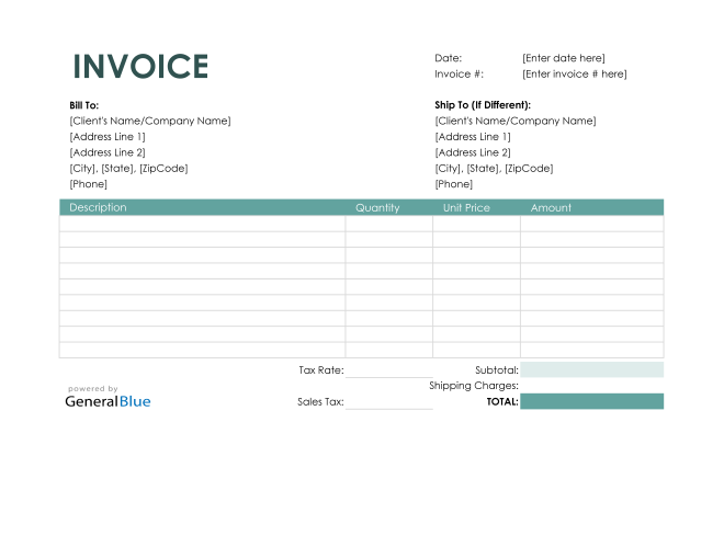 Purchase Invoice in Excel (Colorful)