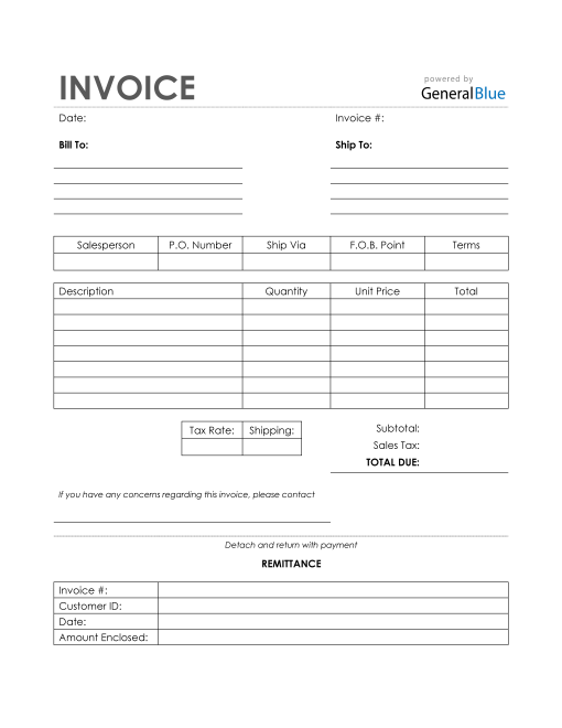 Sales Invoice with Remittance Slip in PDF (Simple)