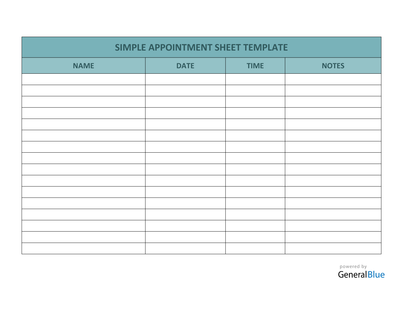 Simple Appointment Sheet Template in Word (Basic) Throughout Appointment Sheet Template Word