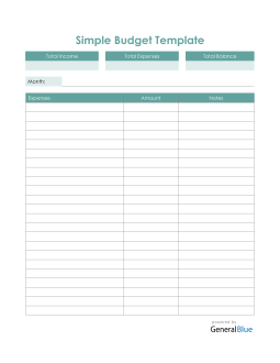 Simple Budget Template in Excel