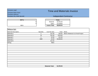 Free Time and Materials Invoice Template