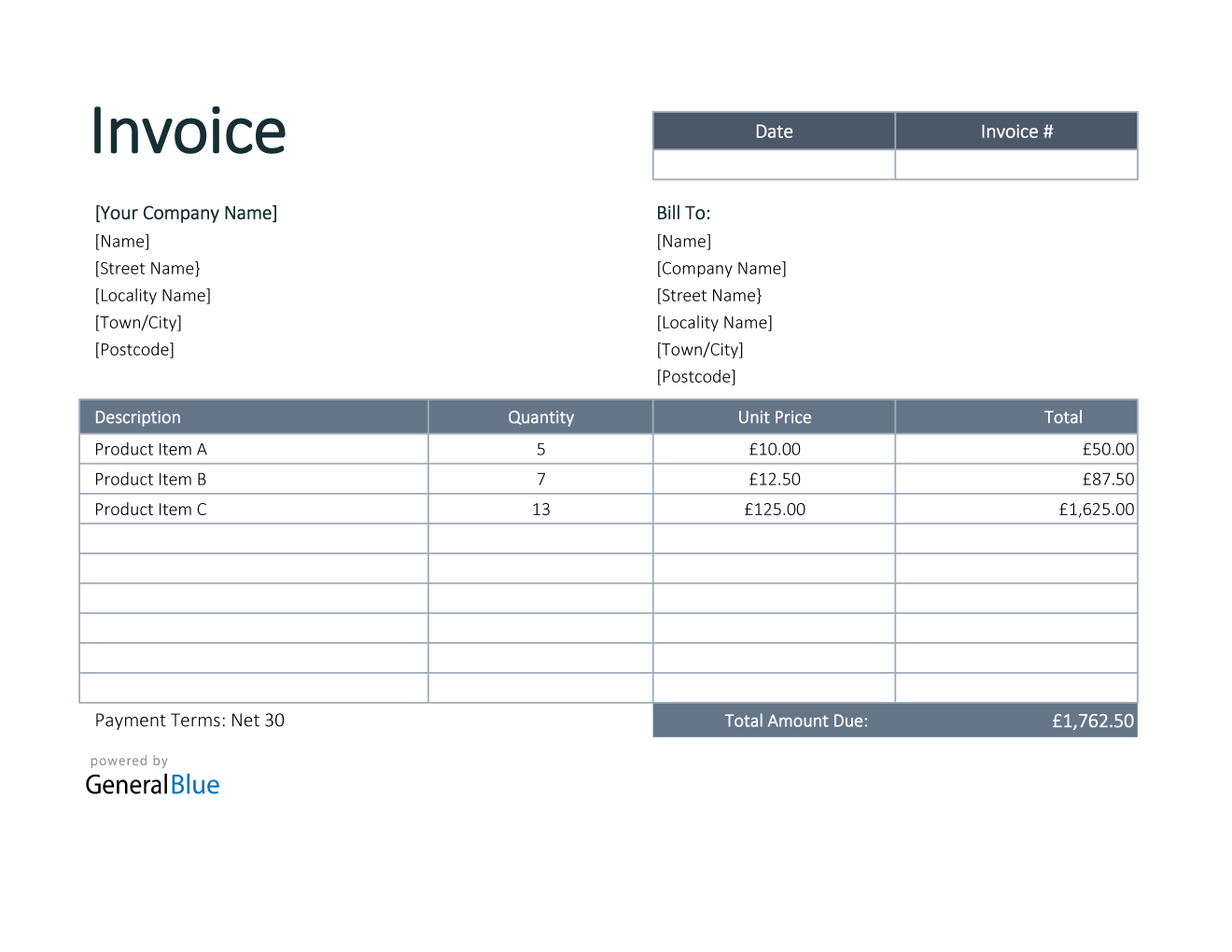 Invoice Template For U K In Excel Bordered