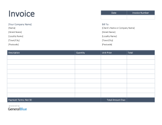 Invoice Template For U K In Word Colorful