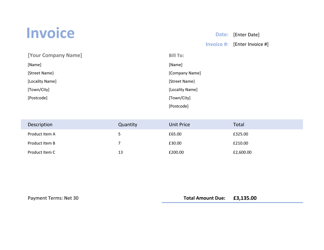Invoice Template For U K In Excel Purple