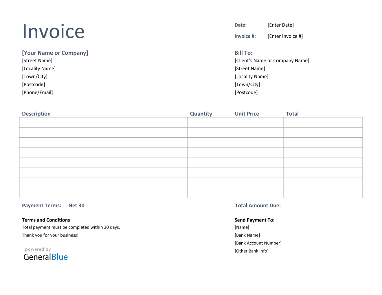Invoice Template For U K In Word Basic