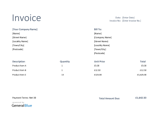 Invoice Template for U.K. in PDF (Basic)