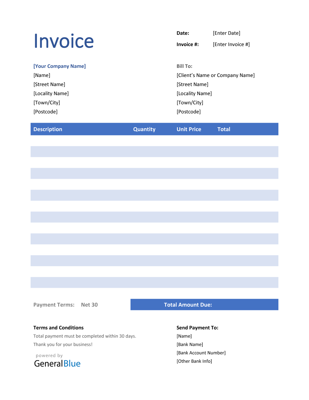 Invoice Template For U K In Word Striped