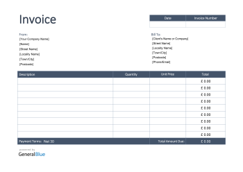 Invoice Template for U.K. in PDF (Bordered)
