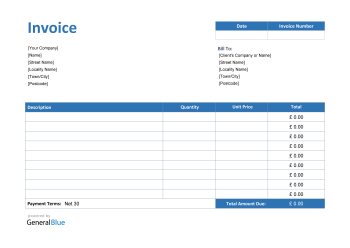 Invoice Template for U.K. in PDF (Blue)