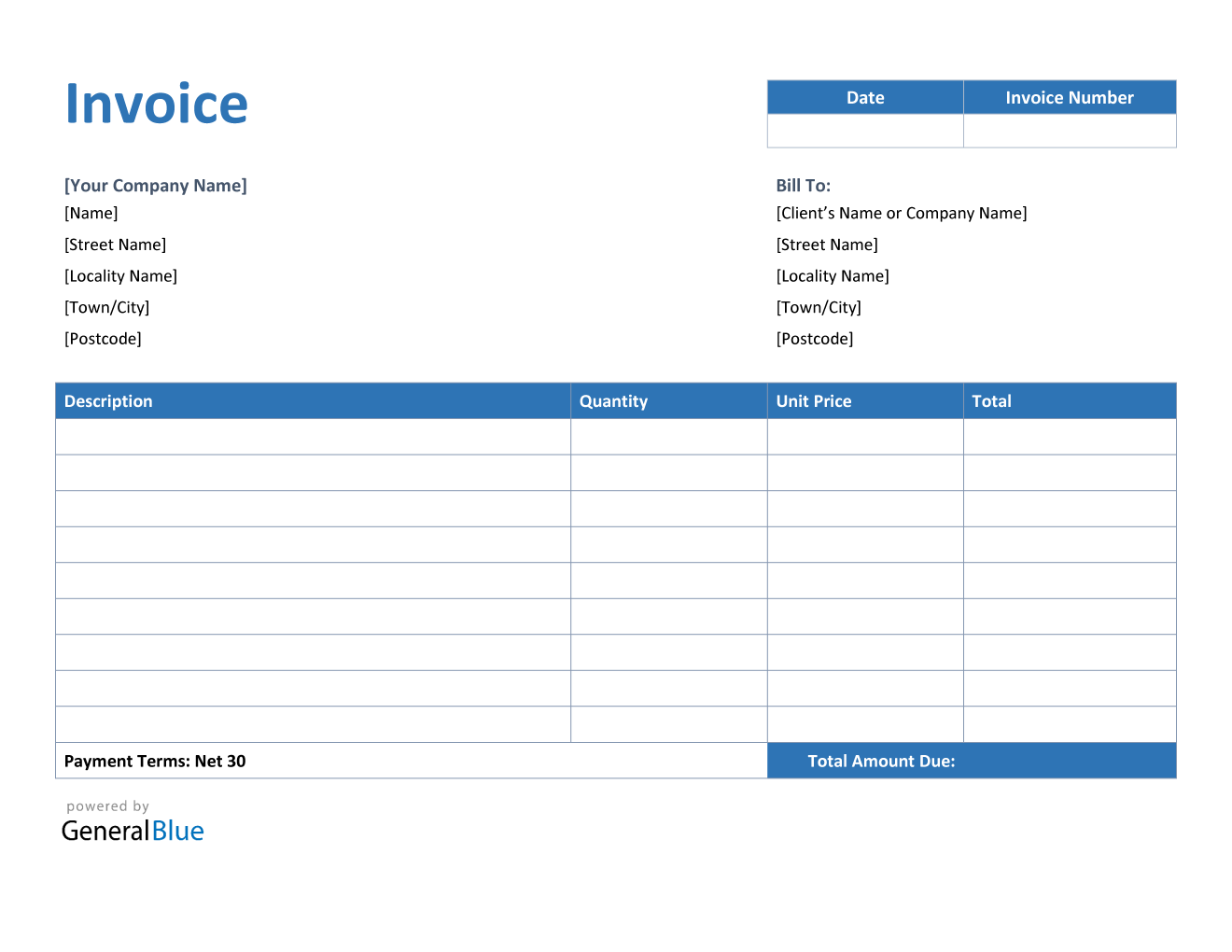 Invoice Template For U K In Word Blue