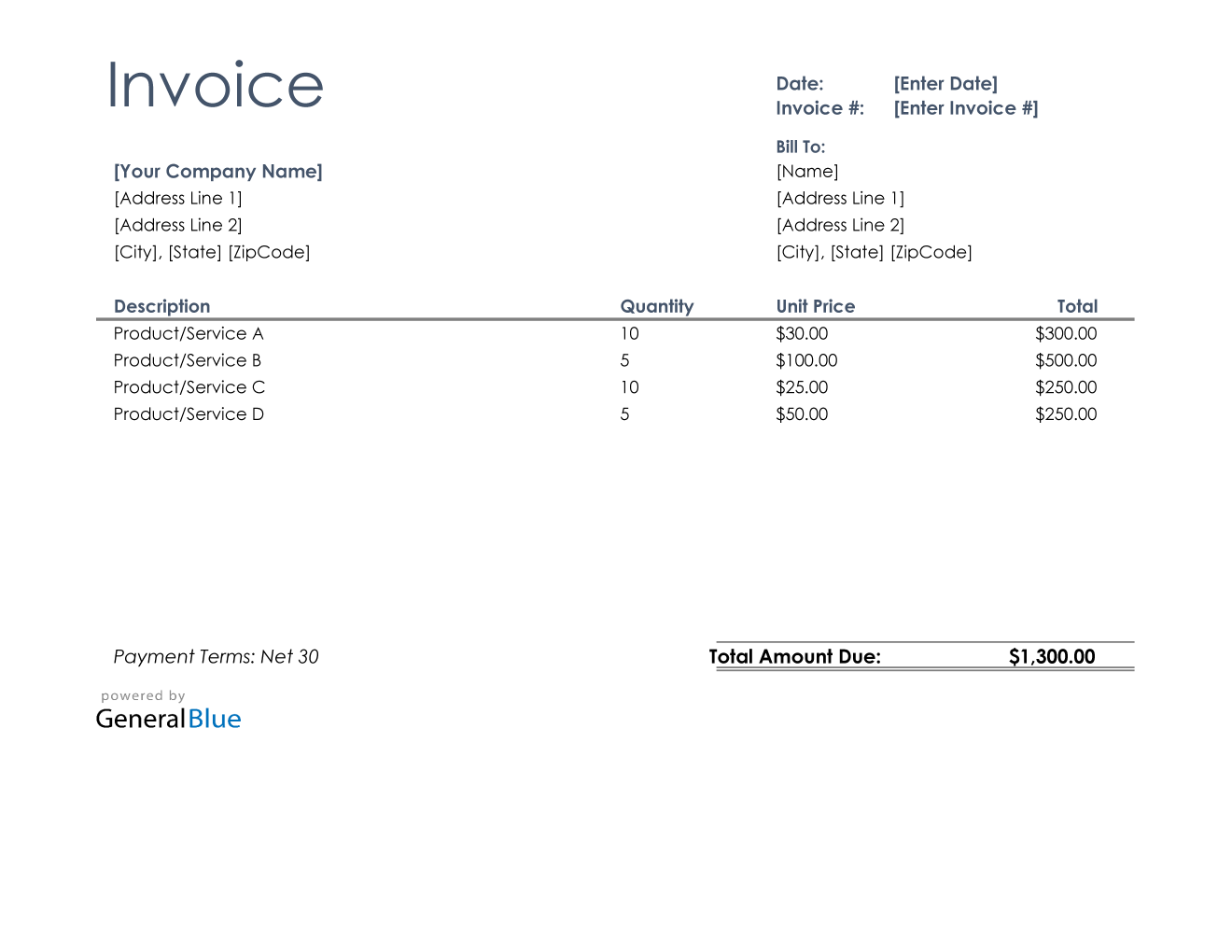 U S Invoice Template In Excel Basic