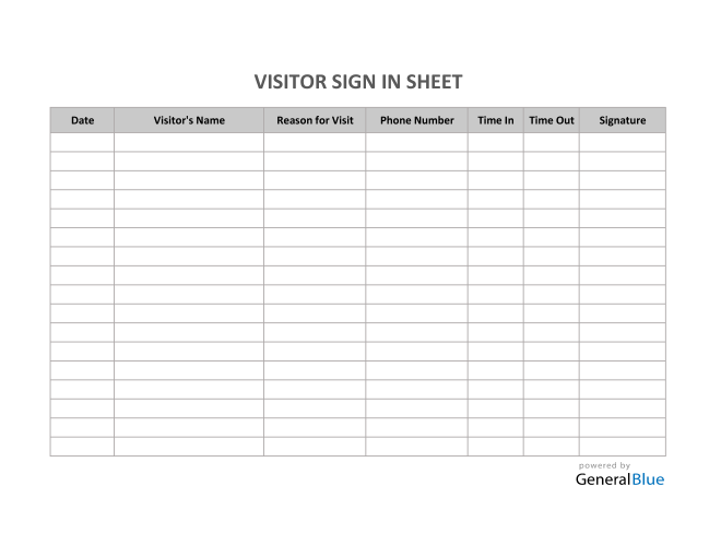 Visitor Sign In Sheet in Excel