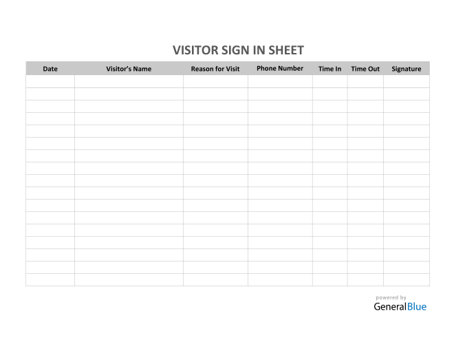 Visitor Sign In Sheet in PDF