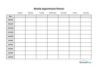 Weekly Appointment Planner in Excel (Basic)