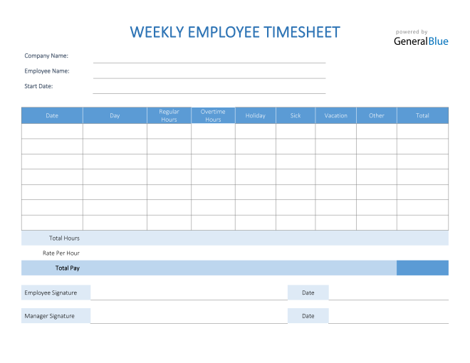 Weekly Employee Timesheet in PDF