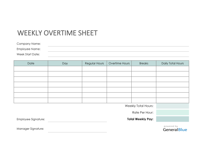 Excel Weekly Overtime Sheet