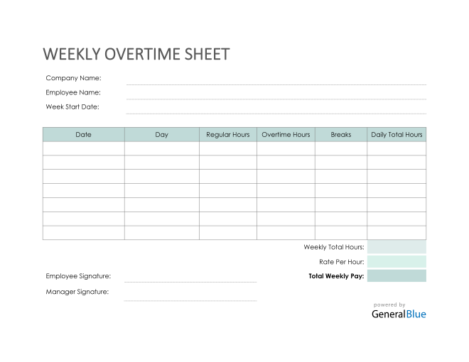 Weekly Overtime Sheet in PDF